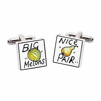 Big Melons Nice Pair Cufflinks by Sonia Spencer, in Presentation Gift Box. Hand painted