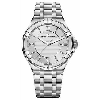 Maurice Lacroix Mens Aikon Stainless Steel Bracelet Silver Dial AI1008-SS002-130-1 Watch