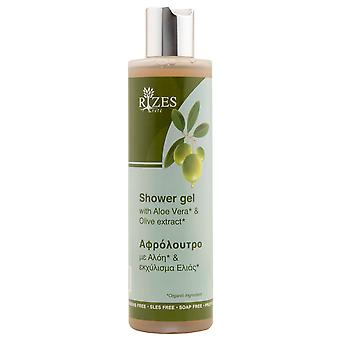 Shower gel with organic aloe vera and olive extracts