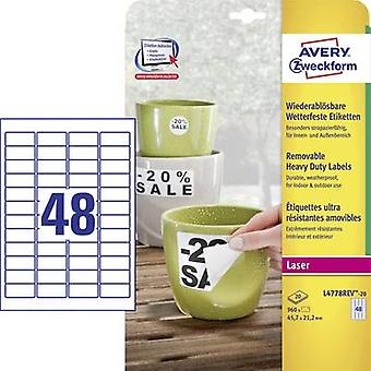 Avery-Zweckform L4778REV-20 Labels 45.7 x 21.2 mm Polyester film White 960 pc(s) Removable Address labels, Weatherproof labels