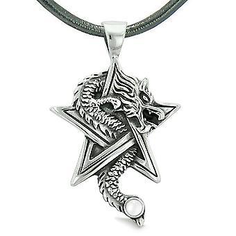 Mod dragen magiske kræfter stjerne femtakkede Amulet hvid simuleret Cats Eye vedhæng halskæde