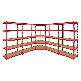 Monster Racking Z-Rax Corner Shelving Unit & 90cm Garage Storage Bays, Red