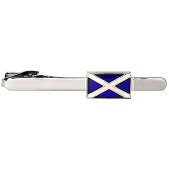 David Van Hagen Scottish Flag Tie Clip - Silver/Blue/White