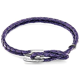 Anchor and Crew Padstow Silver and Leather Bracelet - Grape Purple