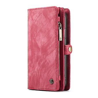CASEME iPhone XR Retro Split läder plånboksfodral - Röd