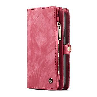 CASEME iPhone XR Retro Split leather wallet Case-red
