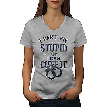Police Officer Cuffs Women GreyV-Neck T-shirt | Wellcoda