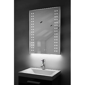 Digitale klok scheerapparaat spiegel met onder verlichting, Demist & Sensor k187w