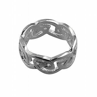 9ct White Gold 8mm Celtic Wedding Ring Size Q