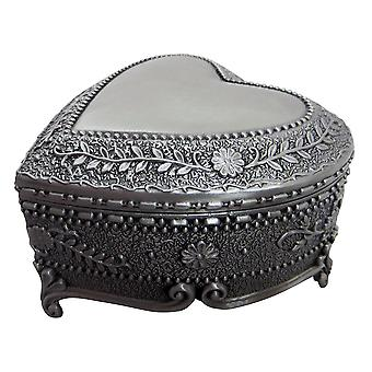 Antique Pewter Plated Metal Heart Trinket Jewellery Chest with Rose Decoration