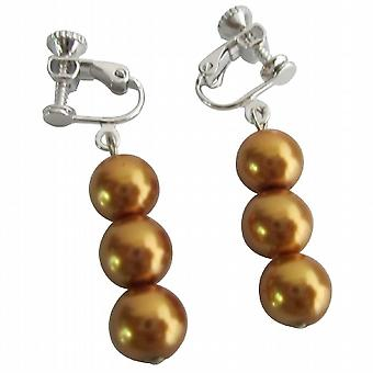 Wholesale Wedding Accessories Gold Clip On Earrings