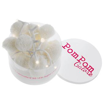PomPom Galore Pom Pom White Fairy LED String Lights