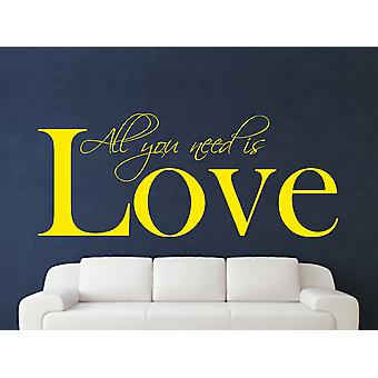 All You Need Wall Art Sticker - Bright Yellow
