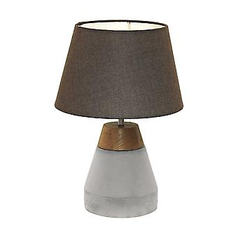 Eglo - Tarega enkelt lys bord lampe i grå beton og træ Finish EG95527