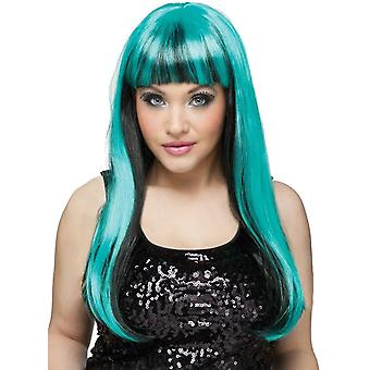 Neon Black/Teal Natural Wig