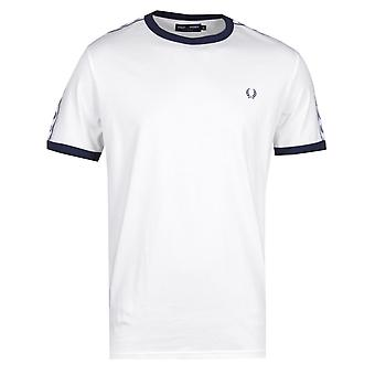 Fred Perry nastrate Ringer t-shirt bianca della neve