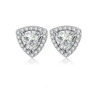925 Sterling Silver  Halo Trillion Cut Aaa Cubic Zirconia Stud Earrings