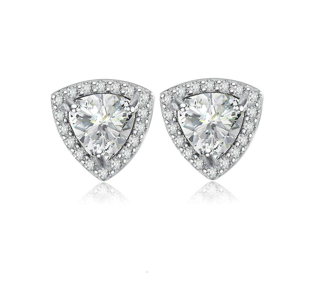 925 Sterling Silver  Halo Trillion Cut Aaa Cubic Zirconia Stud Earrings