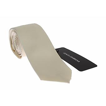 Men white solid silk skinny tie
