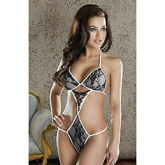 Avanua Lingerie Olga Black & White Strappy Body with Lace
