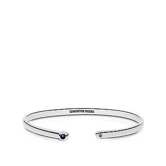 Edmonton Oilers Engraved Sterling Silver Sapphire Cuff Bracelet