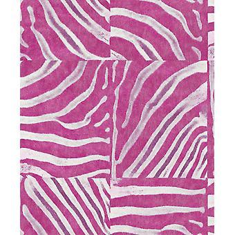 Pop Skin Zebra Stripe Fond d'écran Rose White Animal Print Textured Paste The Wall
