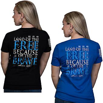Nine Line Apparel Women's Because Of The Brave Relaxed Fit V-Neck T-Shirt