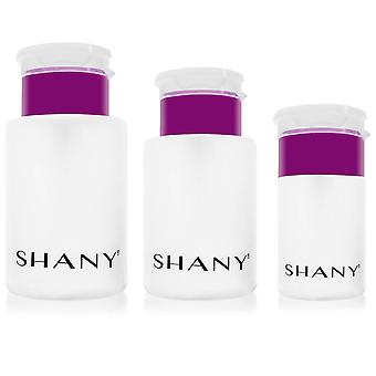 SHANY Push-Top Liquid Dispenser Set - Assortiment de tailles rechargeables Bouteilles en plastique avec Snap Flip-Top Caps et Push-Down Pump - 3 PC