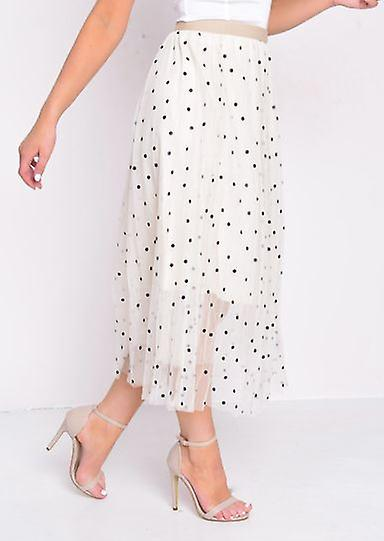 Pleated Polka Dot High Waisted Midi Skirt Beige BAKhS4