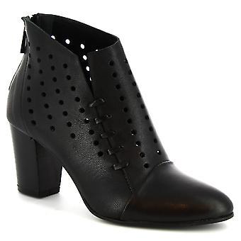 ليوناردو أحذية النساء & s أحذية الكعب الكعب الأسود openwork جلد العجل