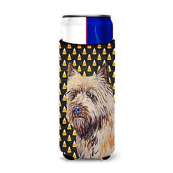Cairn Terrier Candy Corn Halloween Portrait Ultra Beverage Insulators for slim c