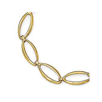 14k Gelb Gold poliertes und Sparkle-Cut Armband - 7 Zoll