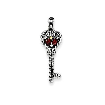 925 Sterling Silver Polished Prong set finish With 14k .17Garnet Key Charm Pendant Necklace Jewelry Gifts for Women