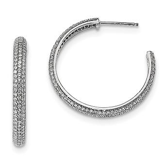 925 Sterling Silver Pave Post Earrings Rhodium plated and CZ Cubic Zirconia Simulated Diamond Polished Hoop Earrings Jew