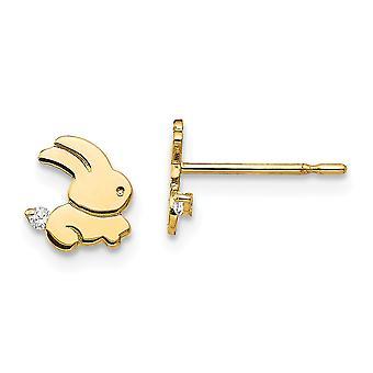 14k Yellow Gold Madi K CZ Cubic Zirconia Simulated Diamond for boys or girls Bunny Post Earrings
