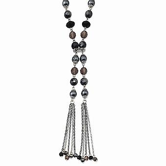 Silver tone Fancy Lobster Closure Black and Hematite Acrylic Stones And Beads 28inch Necklace Jewelry Gifts for Women