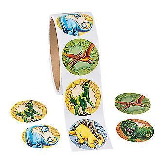 Rull 100 Dinosaur klistremerker for barn håndverk