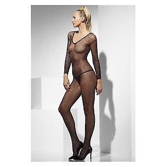 Womens schwarz Fischnetz Body Stocking ouvert Fancy Dress Zubehör