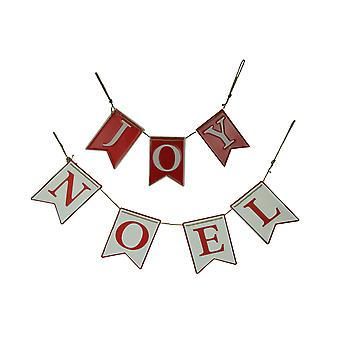 Red and White Joy Noel Metal Christmas Rope Garland Holiday Decor 2 Piece Set