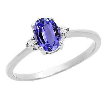 Dazzlingrock Collection 10K 7X5 MM Oval Tanzanite et Round Diamond Bridal Promise Engagement Ring, White Gold