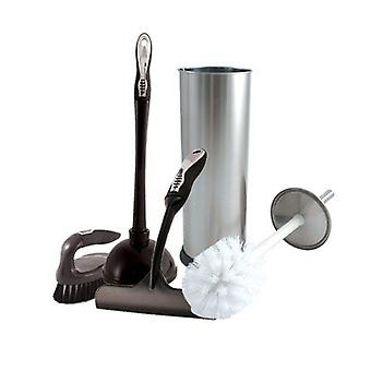 Charles Bentley Chrome Toilet Brush Cleaning Set