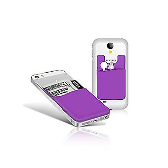 2x Silicone sock wallet card cash pocket sticker purple