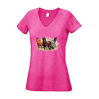 Junior's V-Neck T Shirt Three Horses