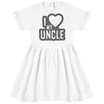 I Love My Uncle Black Outline Baby Dress