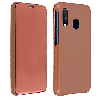 Flip case Samsung Galaxy A20e gennemskinnelige stiv tynd og lys klap-rosa guld