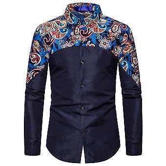 Allthemen Men'S Lapel Printed Patchwork Long-Sleeved Shirt
