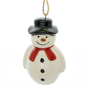 Simple 6.5cm Ceramic Snowman Christmas Tree Hanging Ornament