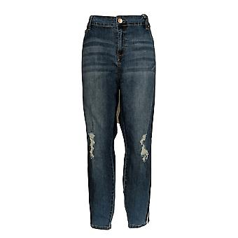 Celebrity Pink Kobiety's Jeans Mid Rise Skinny Distressed Blue