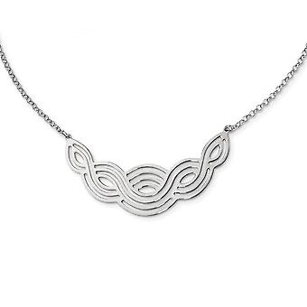 925 εξαιρετικό ασημένιο ρόδιο επιμεταλλωμένα στιλβωμένο φανταχτερό κολιέ 17 ιντσών κοσμήματα δώρα για τις γυναίκες