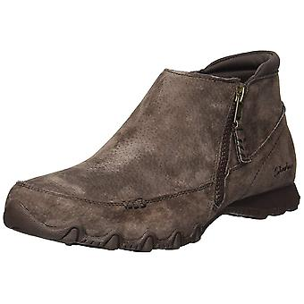 Skechers Womens Bikers-Zippiest-Moc-Toe Leather Closed Toe Ankle Fashion Boots
